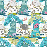 Seamless pattern of forest clearing and animals Stock Image