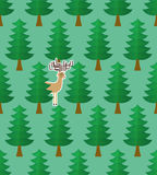 Seamless pattern with  forest and deers. Vector illustration Stock Photos