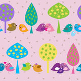 Seamless pattern with forest enamored birds on the background of Stock Images