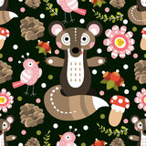 Seamless pattern with forest flora and fauna. Vector illustratio Royalty Free Stock Photography