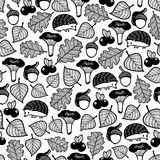 Seamless pattern with forest flora and fauna. Vector wallpaper for coloring by adult and kids. Stock Photo