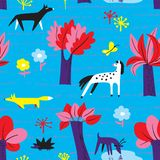 Seamless pattern with forest inhabitants. Background with wild a. Nimals - fox, wolf, edgehog, deer, horse - and many trees. Vector illustration for wrapping stock illustration