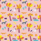 Seamless pattern with forest inhabitants. Background with wild a stock photos