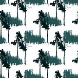 Seamless pattern with forest landscape Stock Photo
