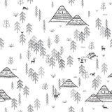Seamless pattern with forest mountains and camping Stock Images