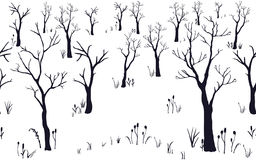 Seamless Pattern of Forest with no leaves. Set of Black Trees. Silhouette Texture. Hand Drawn Design. Stock Photos