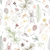 Seamless pattern with forest objects Stock Images