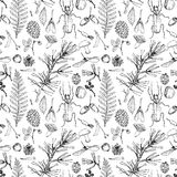 Seamless pattern with forest objects Royalty Free Stock Image