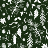 Seamless pattern with forest objects Stock Image