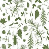 Seamless pattern with forest objects Royalty Free Stock Photos