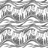 A seamless pattern with forest. A seamless pattern with a stylized fir tree forest and rain Royalty Free Stock Photography