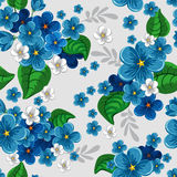 Seamless pattern with forget-me-not Stock Photos