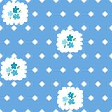 Seamless pattern with forget-me-nots and dots Stock Photography