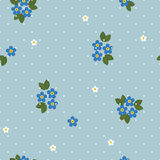 Seamless pattern with forget-me-nots Stock Images