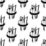 Seamless pattern of forks and knives Royalty Free Stock Images
