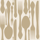 Seamless pattern with forks, spoons end knifes. Stock Images