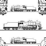 Seamless pattern in the form of a line drawing of a steam locomotive Royalty Free Stock Images