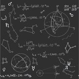 Seamless pattern of the formulas on the astronomy Stock Photos