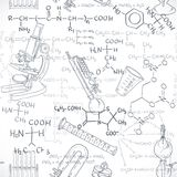 Seamless pattern of the formulas on the chemicals and equipment Royalty Free Stock Photography
