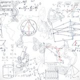 Seamless pattern of the formulas and doodles school subjects Stock Image
