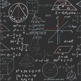 Seamless pattern of the formulas on the geometry on blackboard Royalty Free Stock Photo