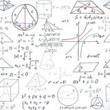 Seamless pattern of the formulas on the geometry Stock Photography
