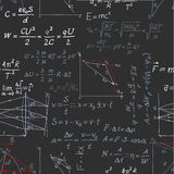 Seamless pattern of the formulas on the physics on blackboard Royalty Free Stock Image