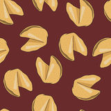 Seamless pattern with fortune chinese cookies. Royalty Free Stock Photo