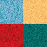 Seamless pattern in four color variations. Mushroom shape seamless pattern in four color variations. Each pattern in separated layer. Swatch pattern included in stock illustration