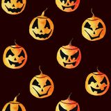 Seamless pattern with four different cute watercolor pumpkin lanterns for Halloween design vector illustration