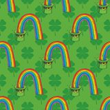 Patrick Day Seamless Pattern. Seamless Pattern with Four Leaf Clover in Flat Style and Leprechaun Hat with Rainbow on a Green Background vector illustration
