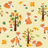 Seamless pattern with Fox in the autumn forest. royalty free illustration