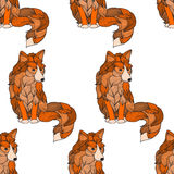 Seamless pattern Fox , dog or wolf of the waves. Doodle illustrations . It can be used llja tattoo , print , T-shirt logo Stock Photo