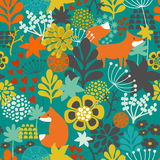Seamless pattern with fox in the flowers of the Stock Photo
