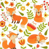 Seamless pattern with fox in flowers royalty free illustration