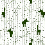 Seamless pattern with fox in forest Stock Photo