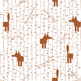 Seamless pattern with fox in forest Stock Images