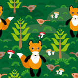 Seamless pattern fox and forest tree mushrooms kids background. Stock Images