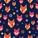 Seamless pattern with fox portrait Stock Images