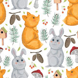 Seamless pattern with fox, rabbit, birdhouse, fly-agaric, spurse cones and berries. Royalty Free Stock Photography