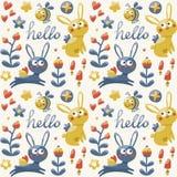 Seamless pattern fox, rabbit, hare, flowers,  plants, hearts Royalty Free Stock Photos