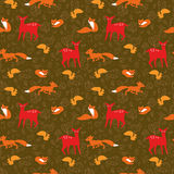 Seamless pattern with fox, squirrels, deer and flo Royalty Free Stock Images