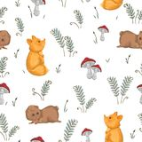 Seamless pattern with fox, teddy bear, mushrooms and fern. Cute cartoon characters. Hand drawn vector illustration in watercolor style Stock Photos