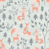 Seamless pattern with fox in winter forest. Foxes in winter forest. Seamless pattern with hand drawn design for Christmas and New Year greeting cards, fabric Stock Photo