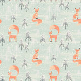 Seamless pattern with fox in winter forest. Fox in winter pine forest. Seamless pattern with hand drawn design for Christmas and New Year greeting cards, fabric Royalty Free Stock Photo