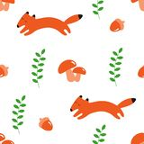 Seamless pattern with foxes and acorns print royalty free illustration