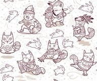 Seamless pattern with foxes characters in outline. Ink baby fox characters seamless pattern. Collection of cartoon foxes with bunnies in cartoon style. Perfect Royalty Free Stock Images