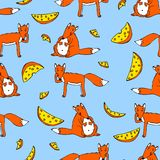 Seamless pattern with foxes and cheese Stock Photos