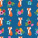 Seamless pattern with foxes. Seamless pattern with cute foxes, and flower bouquets on  blue background. Vector illustration for children Royalty Free Stock Photos