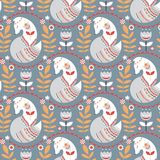 Seamless pattern with foxes and flowers on a grey background. The Scandinavian style. Vector illustration Stock Photography